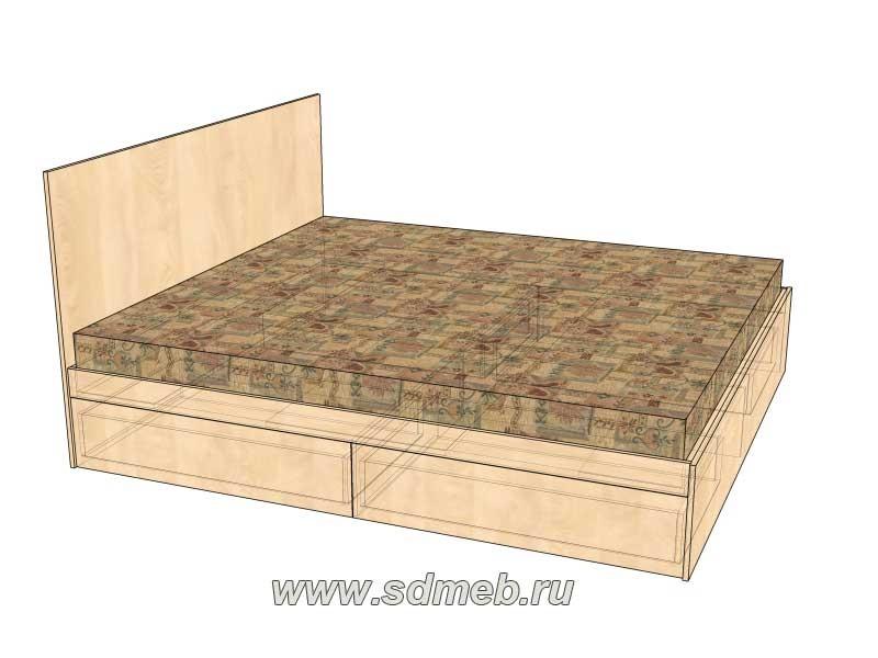 обзор двуспальной кровати с выдвижными ящиками приятная простота