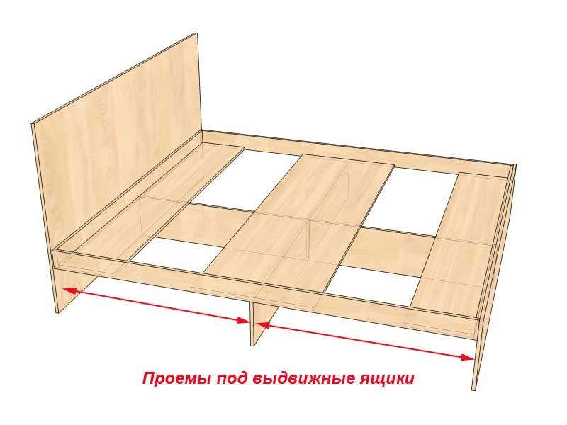 Кровать из дсп с выдвижными ящиками чертежи